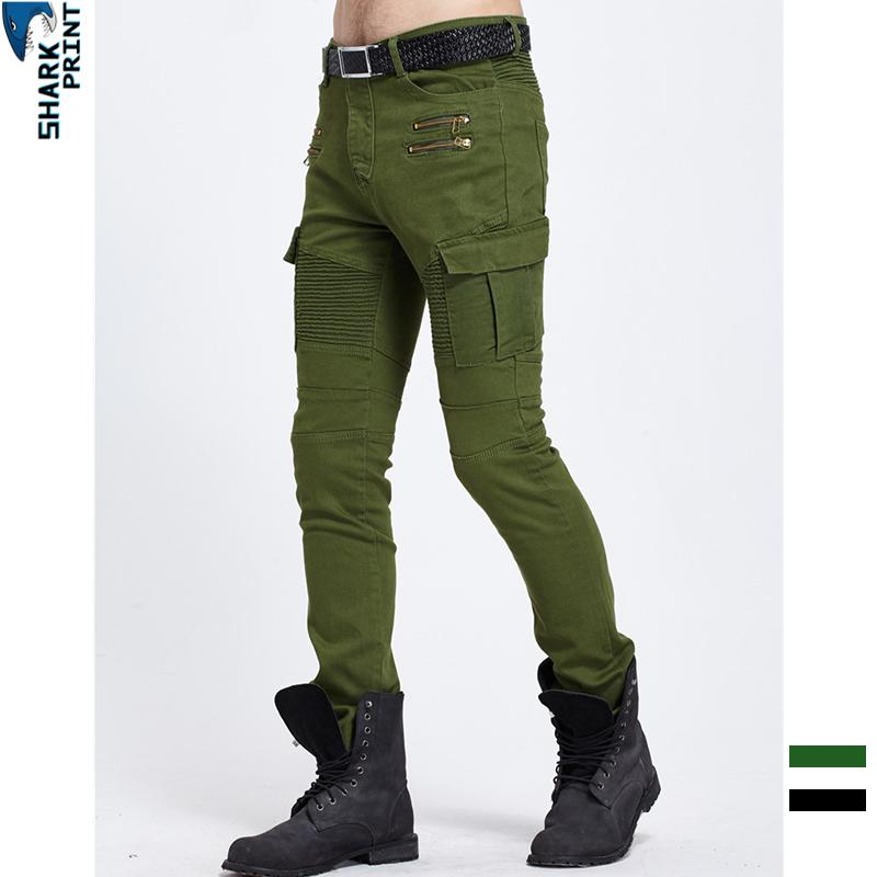 883556cf8 SharkPrint Biker Jeans Hombres Bolsillos laterales 2019 Moda Plisado Falso  Cremalleras Pantalones Lápiz Slim Fit Streetwear Denim Pantalones Hombres