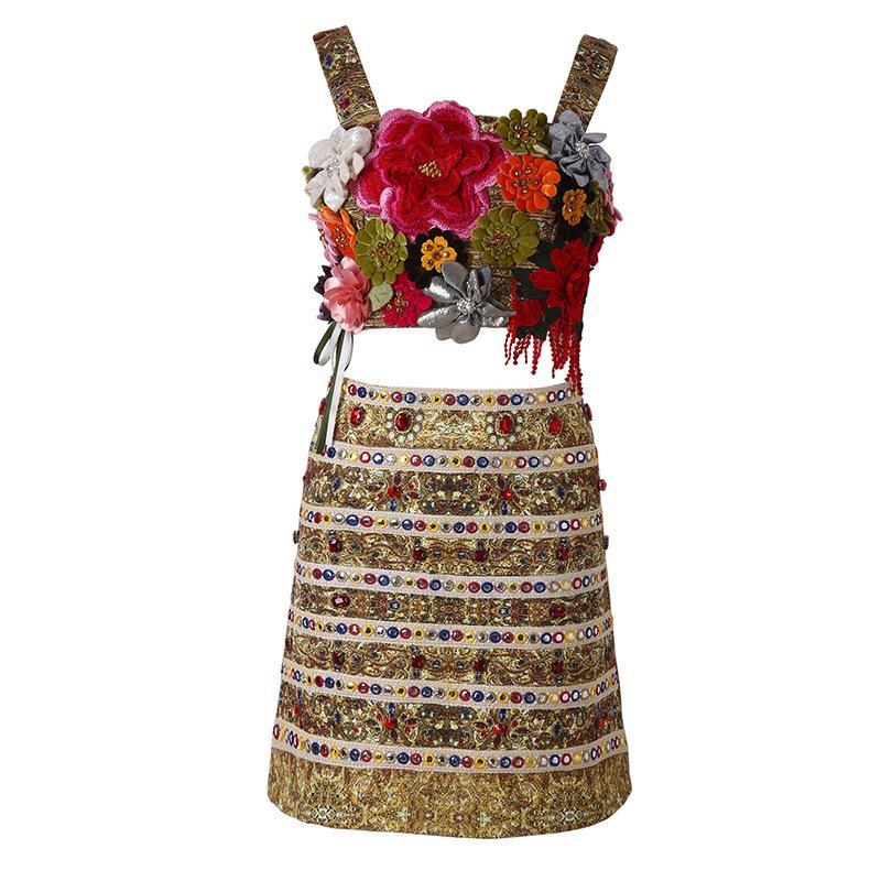 40709a5dfa982c 2019 été Spaghetti Strap Perles Brodées Fleur Applique Top Mini Jupe Top  Jupes 2 Pièces Set Suit 190315M1823