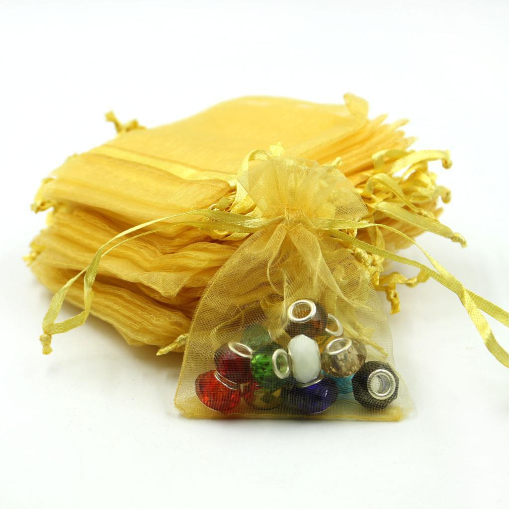 50 unids Bolsa de caramelo 9x12 cm Pequeñas Bolsas de Organza Extraíbles Bolsas de Empaque de Joyería Bolsas de Bolsas de Regalo de Boda 5ZSH313