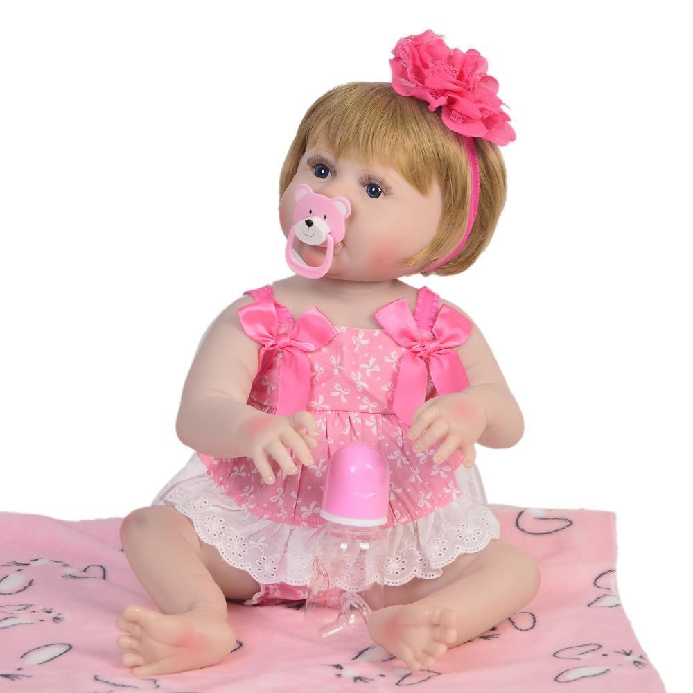 Fashion Vinyl Silicone Reborn Baby Doll Toy Newborn Girl Babies Princess Doll Birthday Holiday Gift Action Figures Toy Toys & Hobbies
