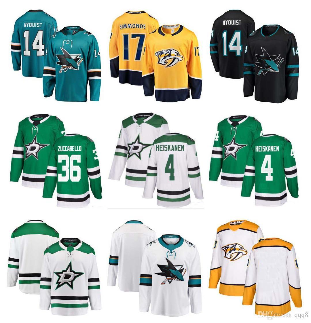 buy popular 669d5 76252 NHL Dallas Stars Jersey 36 Mats Zuccarello 4 Miro Heiskanen San Jose Sharks  14 Gustav Nyquist Nashville Predators 17 Wayne Simmonds Hockey