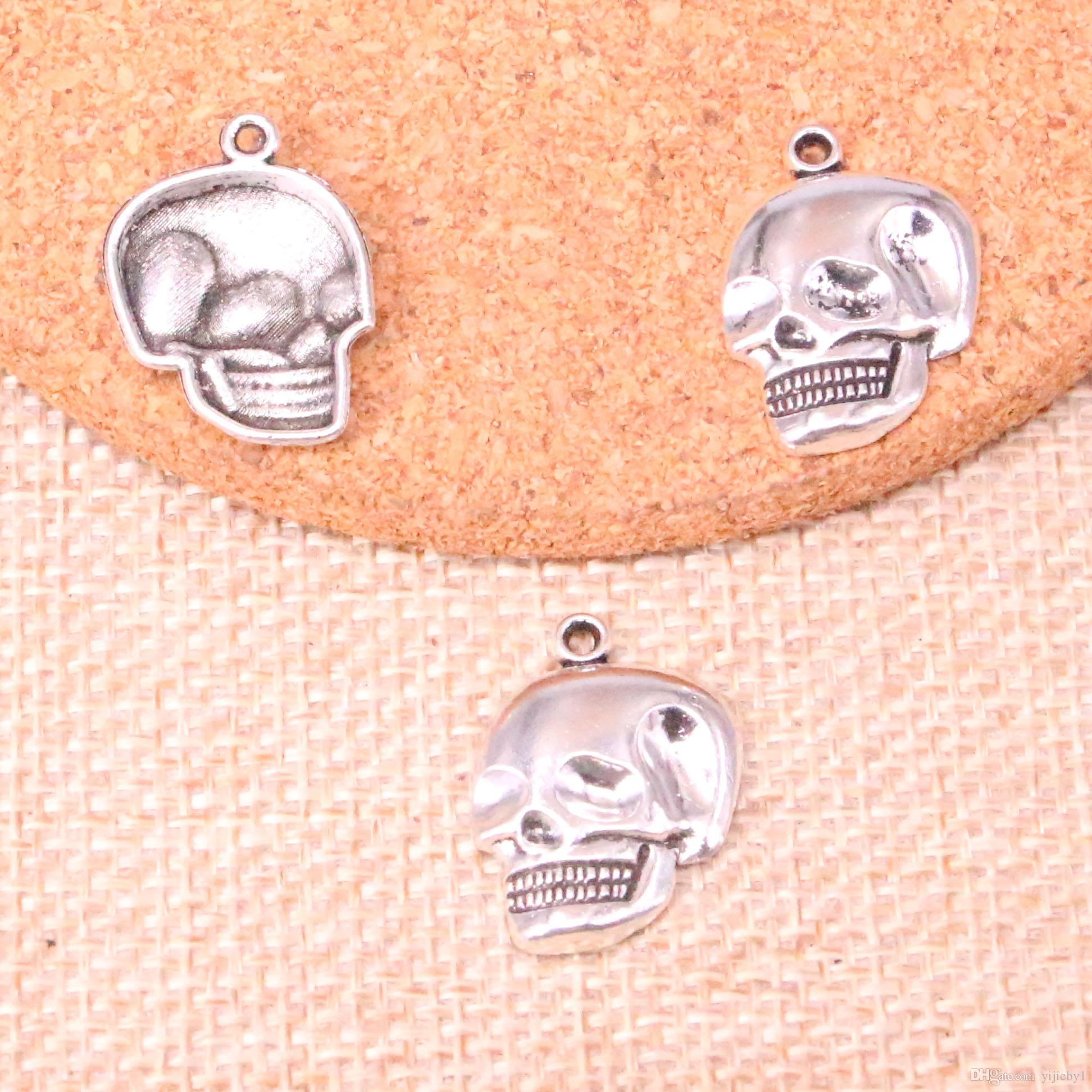 123pcs Charms skeleton head skull Antique Silver Plated Pendants Fit Jewelry Making Findings Accessories 21*16mm