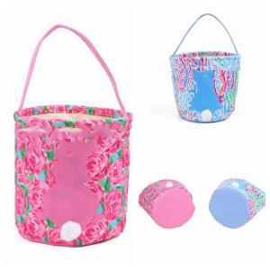 Lilly Easter Baskets 4 Colors Cute Canvas Rabbit Printed Handbag Tail Egg Totes Party Favor OOA6195