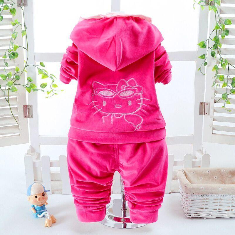 5082703861 2019 Baby Girl Clothes Hello Kitty Tracksuits Clothing Set Girls Boy Warm  Velvet Thicken Hooded Jacket Sweatshirts Pants Vestido From Usefully20