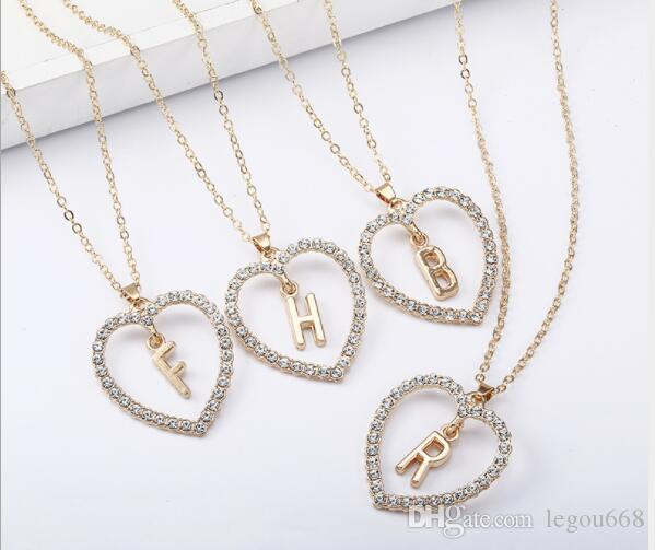 23c0deef91a3 Simple Gold Color Love Heart Necklaces   Pendants Double Rhinestone ...