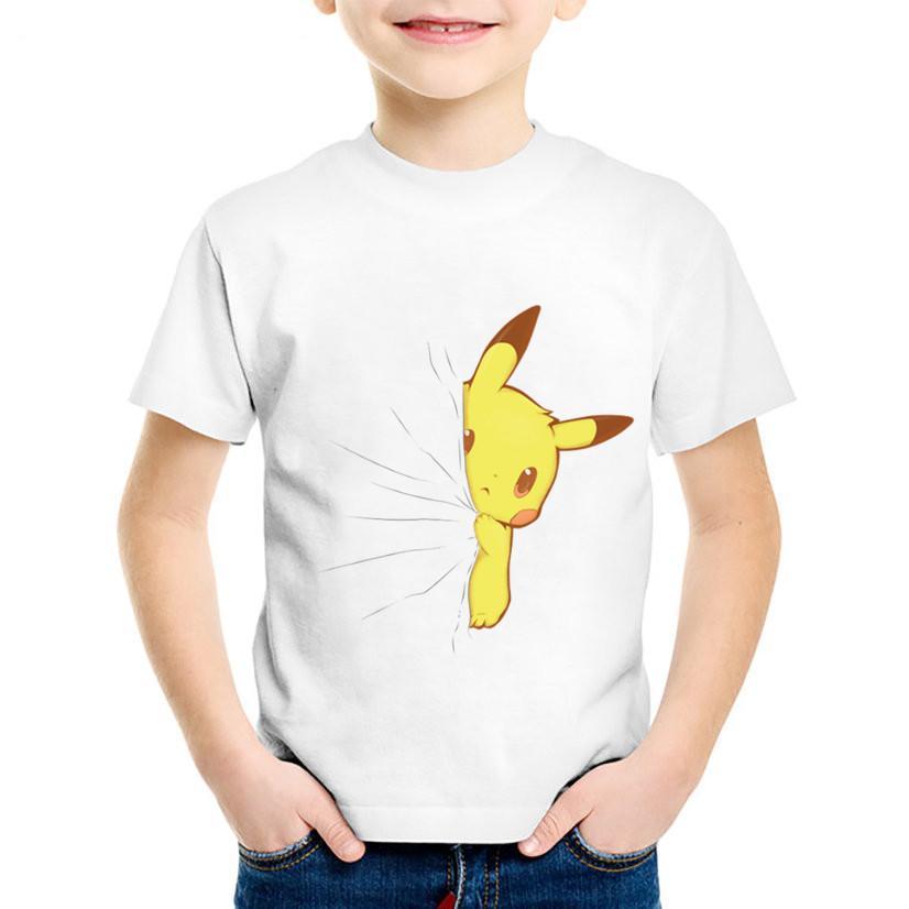 2019 Cartoon Print Hidden Sneaky Mario Pikachu Children Funny T