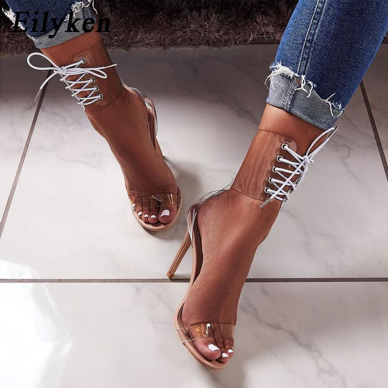 fa87b7ebe361 Eilyken 2018 PVC Jelly Lace Up Sandals Open Toed High Heels Sexy Women  Transparent Heel Sandals Party Pumps 11CM Sales Promotion Ladies Shoes  Loafers For ...