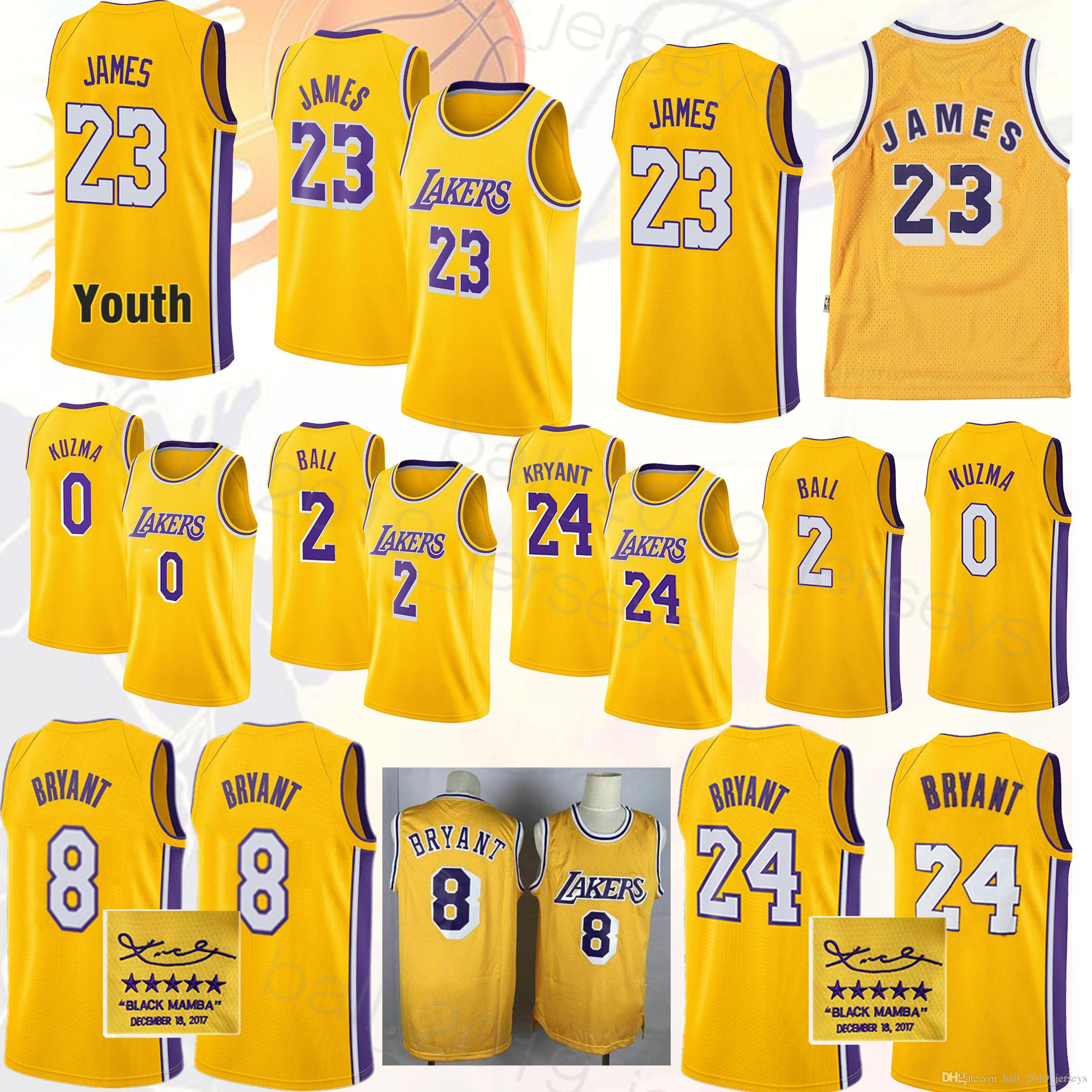 pretty nice dc07a 11b8d Kobe 8 Bryant 23 LeBron James jersey Los Angeles jerseys Laker 2 Ball 0  Kuzma Signature Maillots de basketball