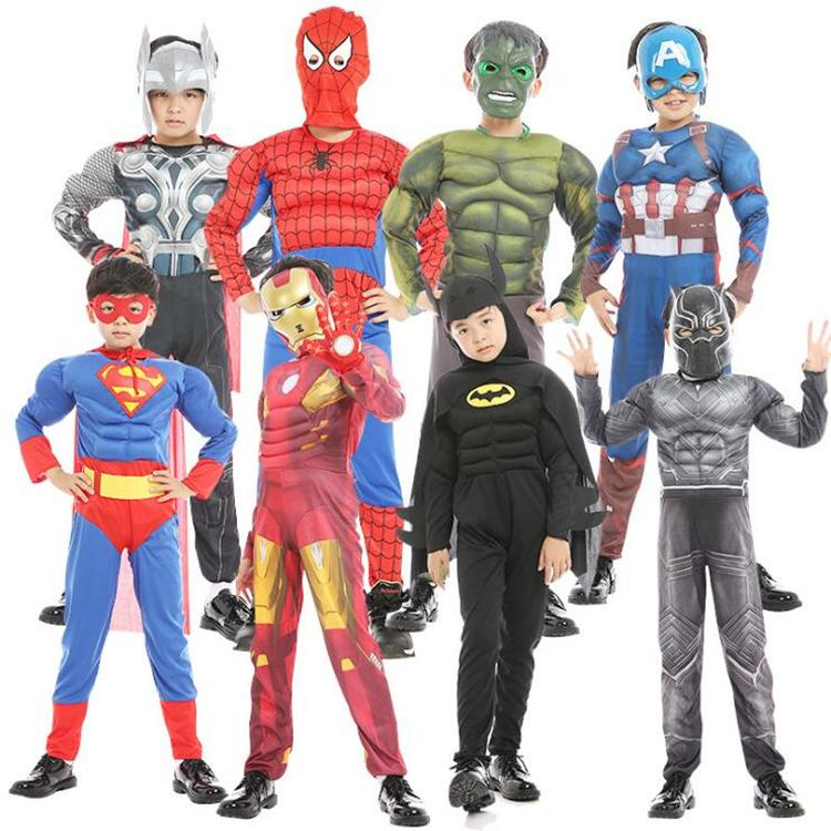 halloween kids cosplay costumes 22 designs Marvel avengers Superheroes spiderman black panther Iron Man costume Kids Halloween Clothes SS224
