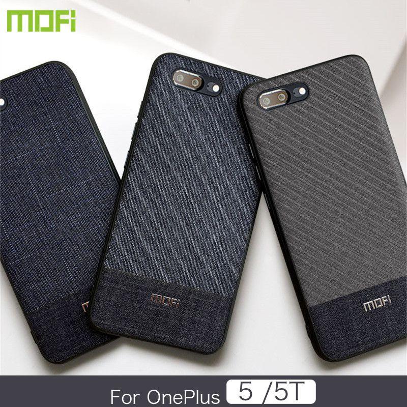 best service 21b58 c4f06 wholesale 5 Case Mofi Oneplus 5T Case Cover Dark Color Gentleman Business  Style Handcraft Fabric Cloth One Plus 5 5T Cross Grain