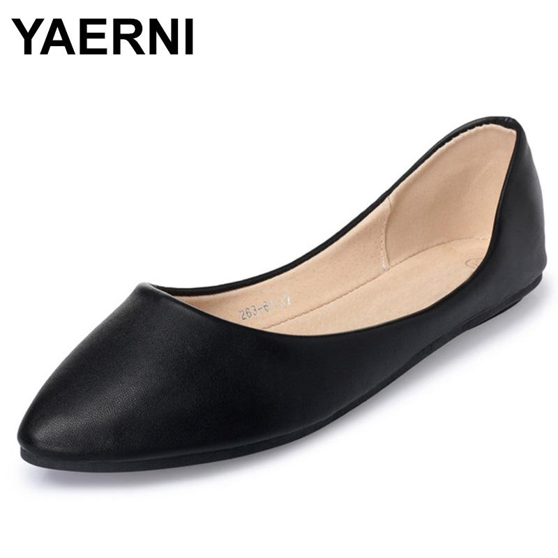 YAERNINew FashionWomen Casual PointedToe Flats Slip Solid Pu Flats Per le donne Size 35-41Ladies Slip-on Leisure FlatShoes Ballerina