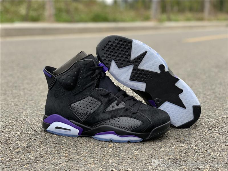 online store 3ffa0 82f2e 2019 Más Auténtico Auténtico 6 VI OG NRG Gato Negro Piel De Serpiente  Caballo De Caballo Negro Púrpura Hombres Zapatos De Baloncesto 6s  Zapatillas ...