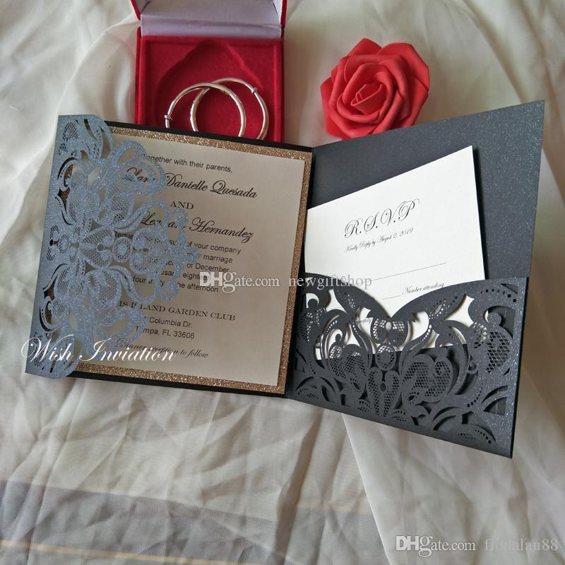 Black Star Shimmy Laser Cut Pocket Wedding Invites 2019 Elegant Birthday Party Invitation With Rsvp Card And Envelope With Free Printing