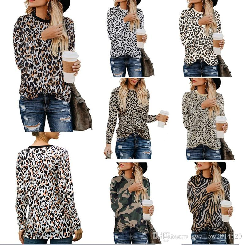 Sexy Women Tops Long Sleeve Shirt Leopard Print T-shirt Ladies O-neck Chic Printed Tops Tees Shirts Female Clothing