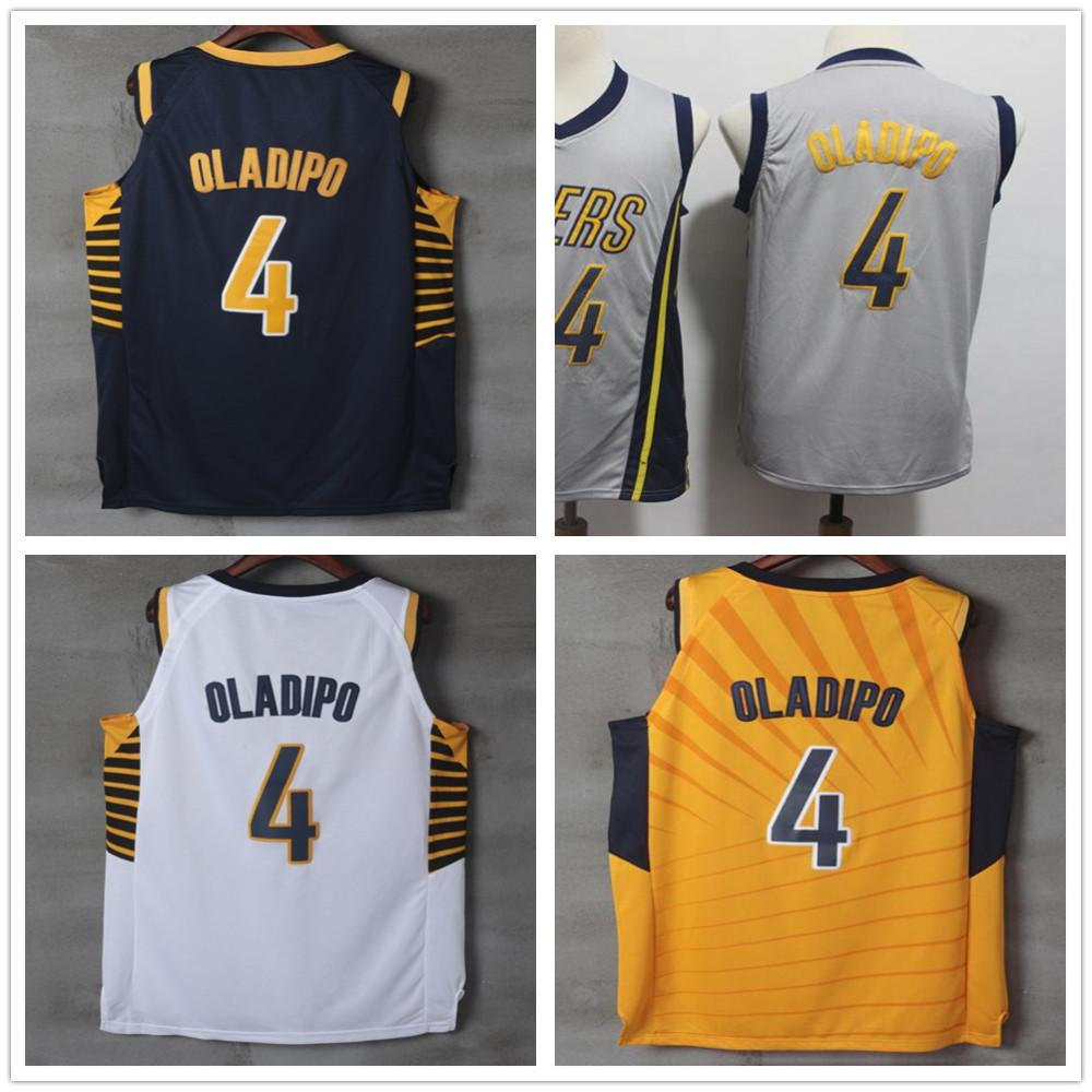 reputable site efb37 75890 Stitched New City Edition Gray 4 Victor Oladipo Jerseys Men Sportswear Blue  Yellow White Victor Oladipo Jersey Breathable Sport Shirt