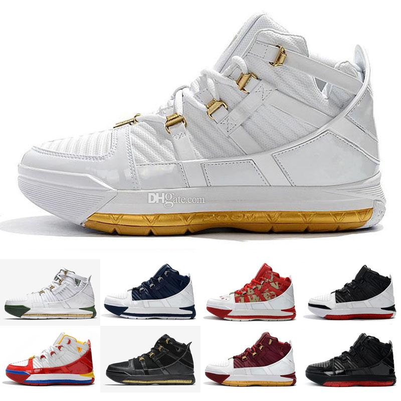 super popular a4b36 d24dc 2019 New Arrival #23 Zoom Lebron III 3 Home SuperBron Men s Basketball  Shoes Best quality White Blue Red Black Chaussures EUR 40-46