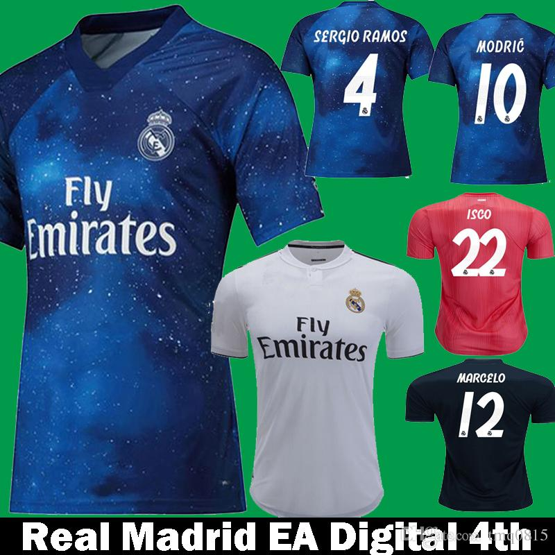 2019 2018 2019 Real Madrid EA Sports ASENSIO ISCO Digital Soccer Jerseys 18  19 MODRIC KROOS SERGIO RAMOS Bale MARCELO 4th Away Football Shirts From  Tmq0815 ed548033d