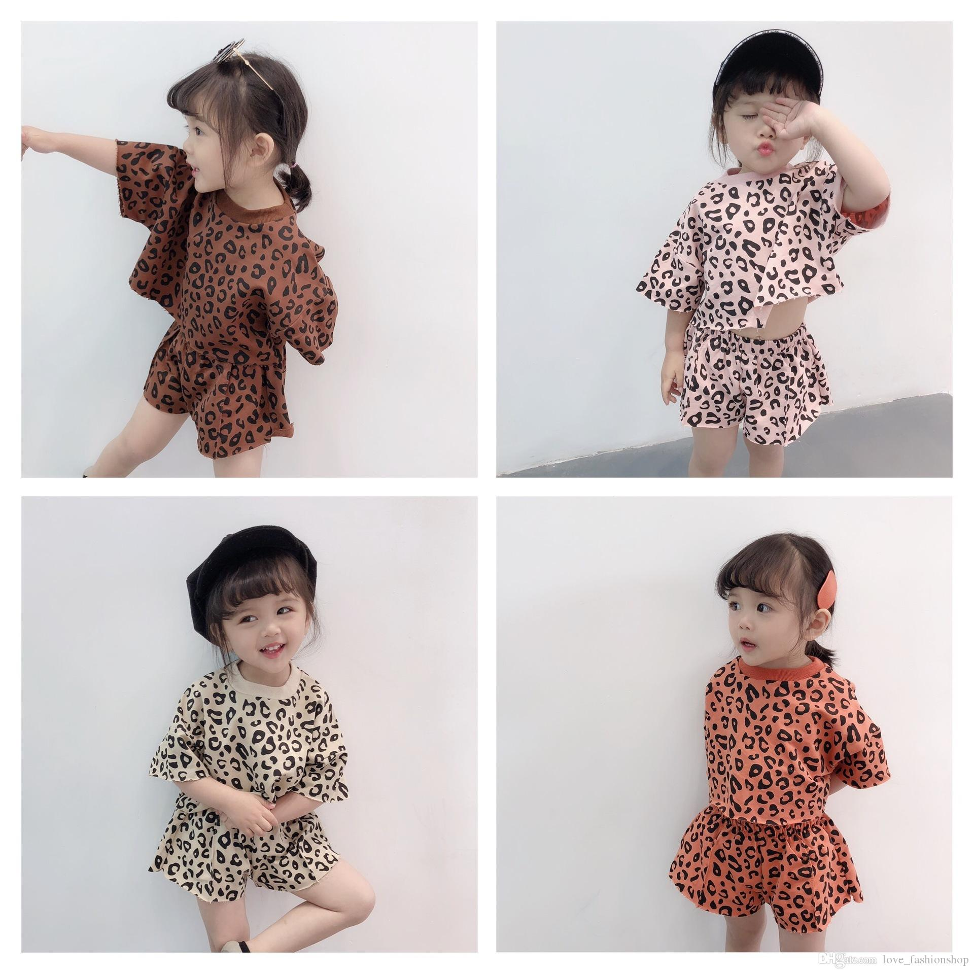 adcefee30be9c 2019 2019 New Korean Baby Girls Leopard Sportswear Suits Clothing Sets Kids  Summer Tshirt+Short Casusal Outfits Tracksuits Suit Clothes From ...