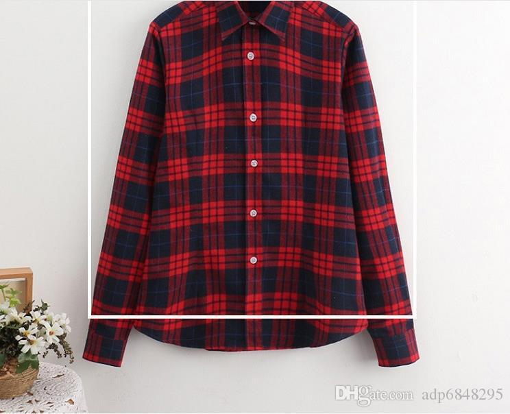 084050c061e 2019 2018 Women Blouses Long Sleeve Shirts Pure Cotton Grinding Plaid Shirt  Casual Female Plus Size Blouse Tops From Adp6848295