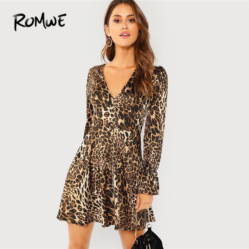 29245a2ea Leopard Print Flounce Sleeve V Neck Sexy Dresses Woman Party Night 2018  Autumn Elegant Womens Clothing Spring A Line Dress Purple Floral Maxi Dress  Black ...