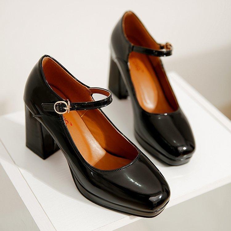 e234d88145c6 Vestido japonés Retro Crudo talón Cabeza cuadrada Tacones altos 2019 Otoño  Nuevas mujeres profesionales Zapatos Moda simple Zapato de tacón alto ...