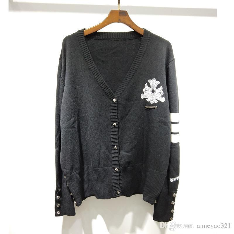 Compre Milan Runway Sweater 2019 Gris   Negro Manga Larga Con Cuello En V  Suéteres De Las Mujeres De Gama Alta Jacquard Cardigan Mujer Diseñador  Suéter R3 A ... 74aaa5412d05