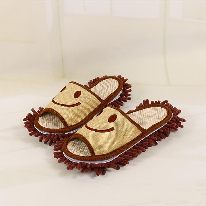 Hot Sale-Cotton Smile Pattern Slippers Pantoufles multifonctions paresseux pour vadrouille propre