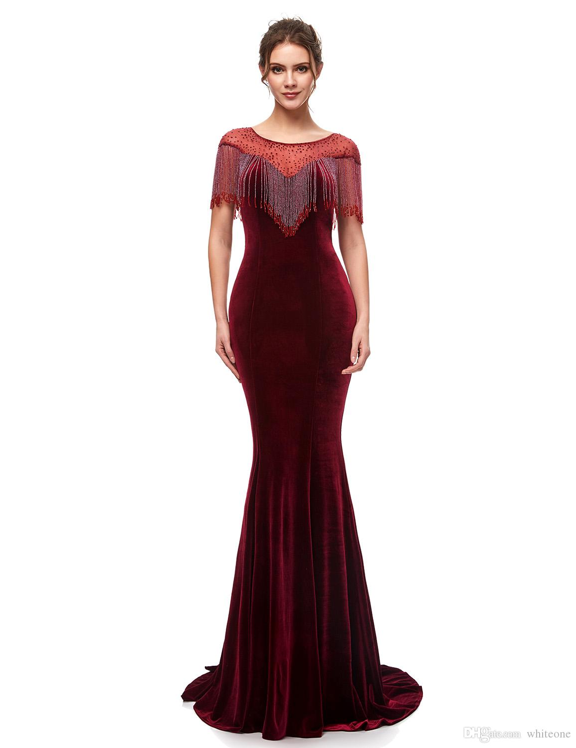 2019 New Stylish Evening Dresses Elegant Velvet With Tassel Formal Long Evening  Gowns Floor Length Pron Party Gowns Robe De Soiree 5400 Evening Dresses  Maxi ... 6f5b364ef2a0