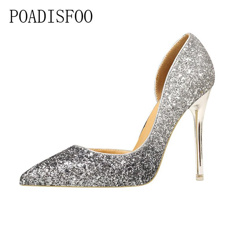 Designer Dress Shoes Style Sexy Night Club Was Thin With High Heel Shallow  Mouth Sharp Pointed Sequined Single .ZWM 9616 55 Mens Sandals Mens Trainers  From ... dcf3849b55e5
