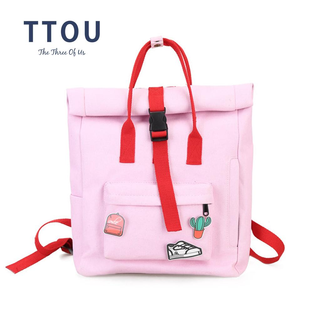 539d22ec3c0c 2019 FashionTTOU Women Fashion Backpack With Cute Badge Large Capacity  Canvas Backpack Casual School Backpack For Teenager Girls Pink Backpacks  Daypack From ...