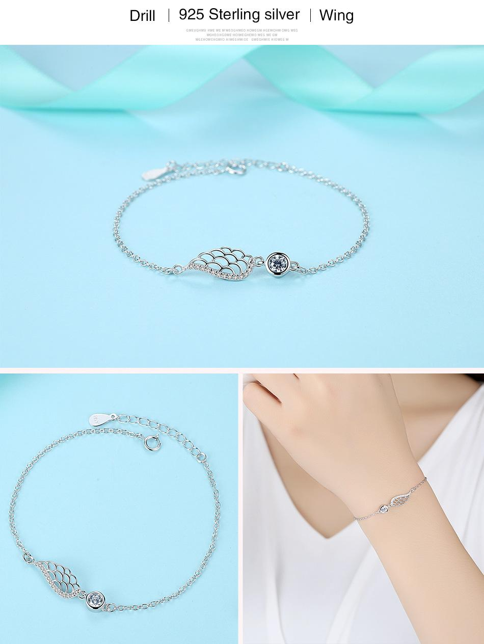 100% 925 Sterling Silver Bracelet Women Fashion Angel Wings Feather Bracelets Bangles Crystal Charm Jewelry Wedding Party Gift