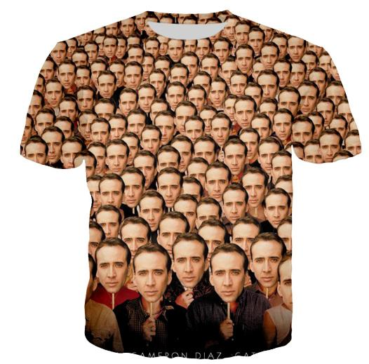 55b49eafd Newest Hot Fashion Funny Nicolas Cage Smiling Face T Shirt Women Men Summer  Unisex 3d Print Short Sleeve Crewneck Casual Tops Tees Q369 Clever T Shirts  Best ...