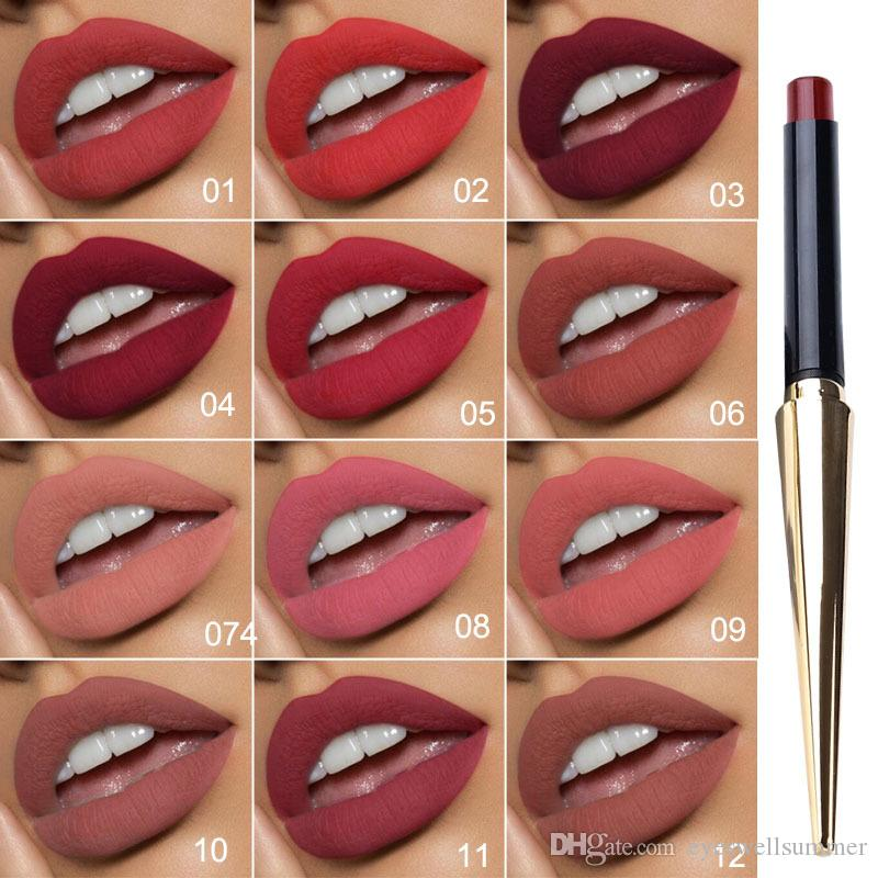 12 Colors/1set Matte Bullet Head Lipstick Waterproof Long Lasting Makeup Tube Make Up Waterproof Liquid Lip Stick Cosmetic