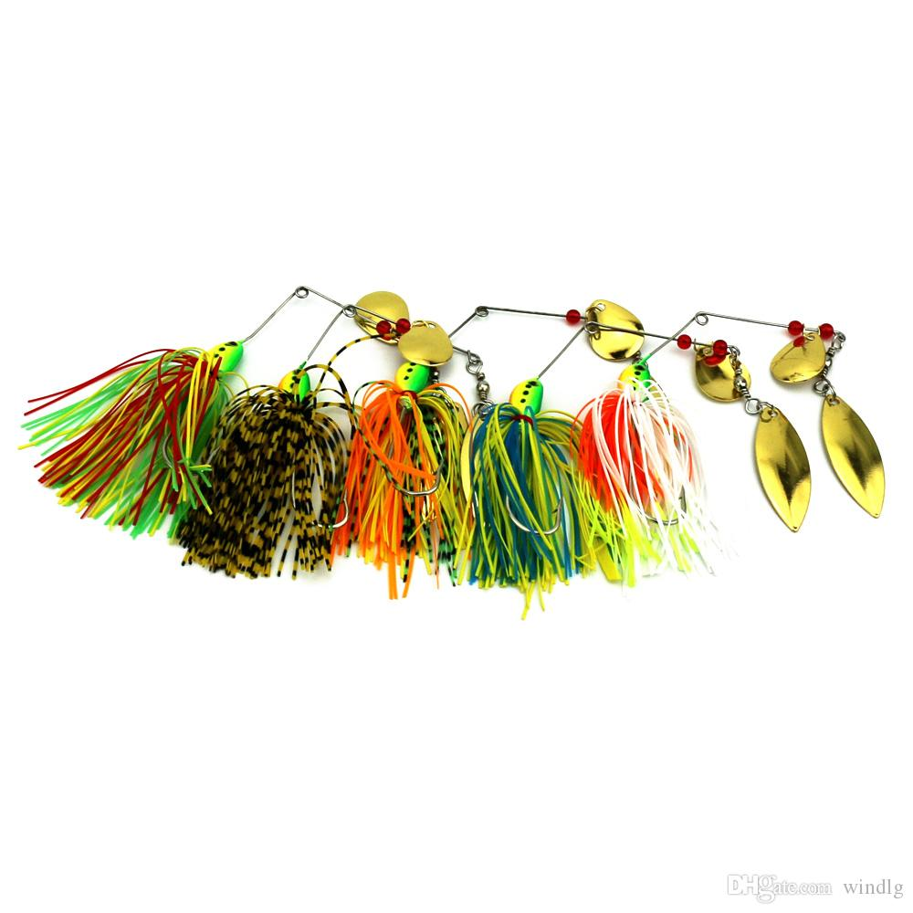 HENGJIA 10pc 17g head buzzbaits hard Metal sequins lures wobblers sinking  Fishing Lures Spinnerbait Blade pesca fishing tackles