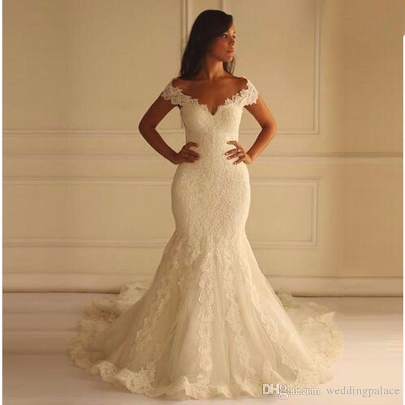 2019 Cap Sleeve V-neck Lace Mermaid Wedding Dresses Chapel Train Zipper Back Tulle Bridal Wedding Gowns