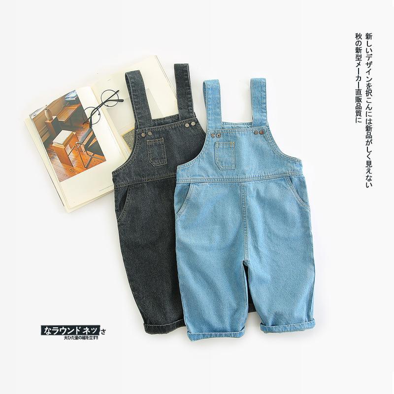 ea5101165779e Acheter Automne Enfants Salopette Infantile Bleu Et Noir Denim Bib Pants Bébé  Garçon Fille Jeans Pantalons Casual 1 4 T Free Drop Shipping De $41.61 Du  ...