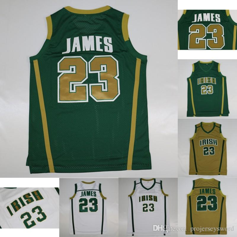 premium selection 6a2fb 4cb24 Mens #23 LeBron James Earth Irish High School Jersey Basketball Jersey 100%  Stitched LeBron James NACC Basketball Jerseys Free Shipping