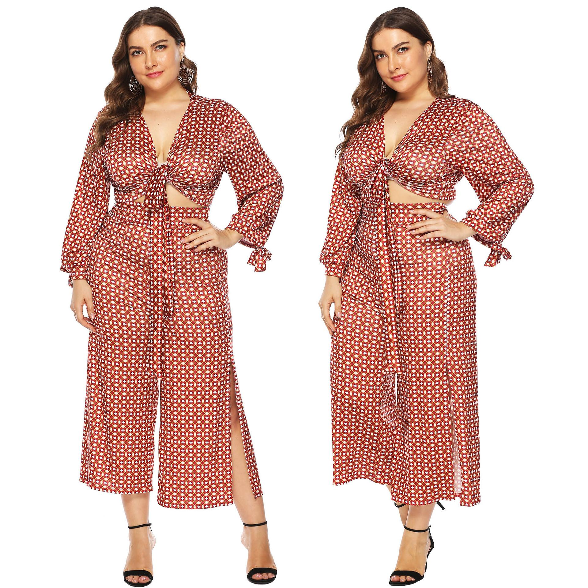 L-4XL Dot Printed Tops+slit Pants Long Sleeve Womens Two Piece Set Fashion Casual Plus Size Ladies Suits