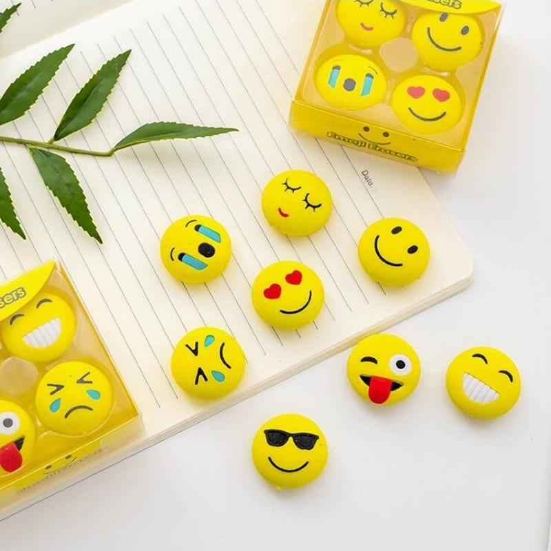 Creative Cartoon Cute Emoji Expression Boxed Pencil Eraser Office Stationery School Supplies Eraser Set / 4PCS