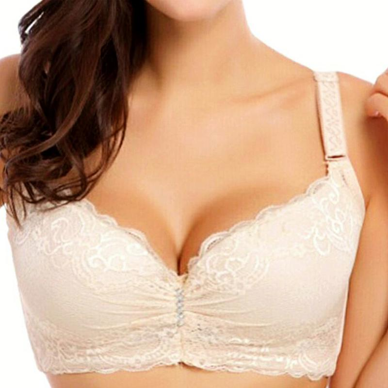 Hot 3/4 Large Cup Sizes Bras For Women Underwear Adjusted Deep V Lace Big Brassiere C D Female Push Up Bra Sutian