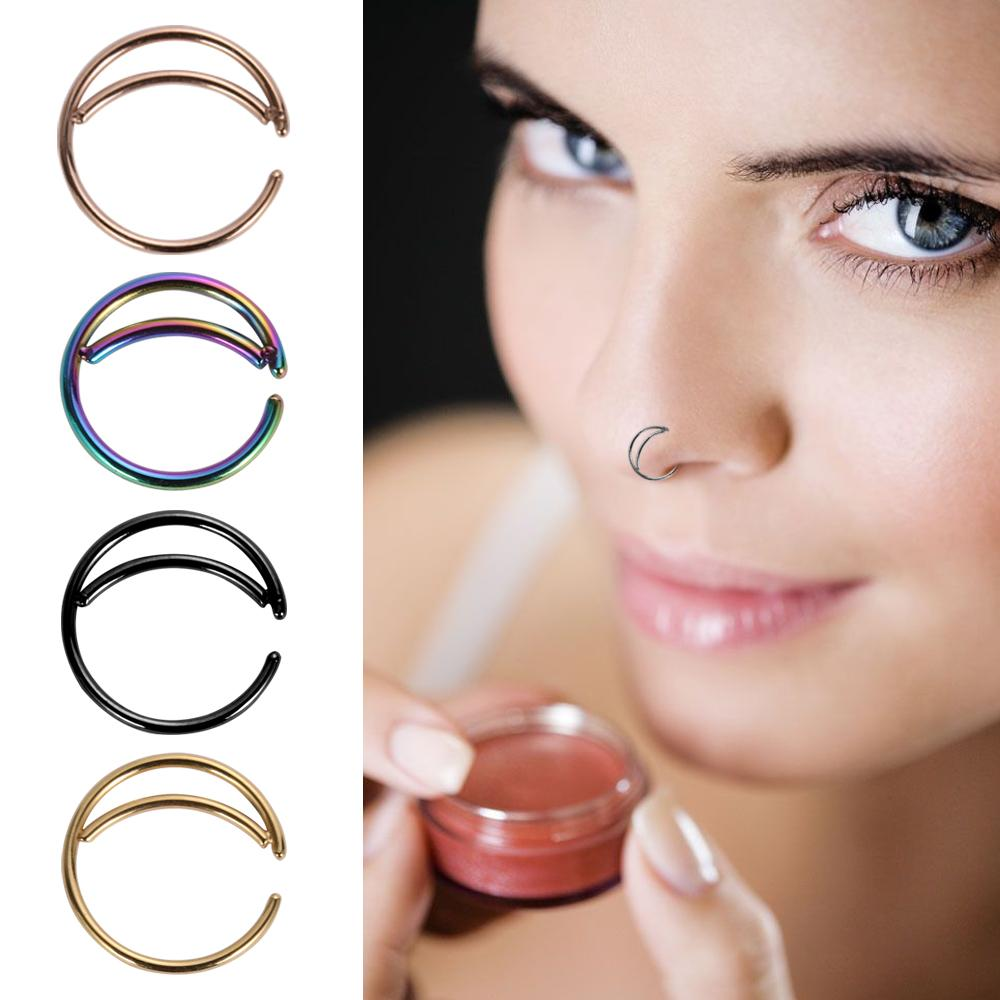 1pc Moon Indian Nose Ring Hoop Septum Ring Nose Jewelry Piercing Small Hoop Body Jewelry Fake Piercing Moon