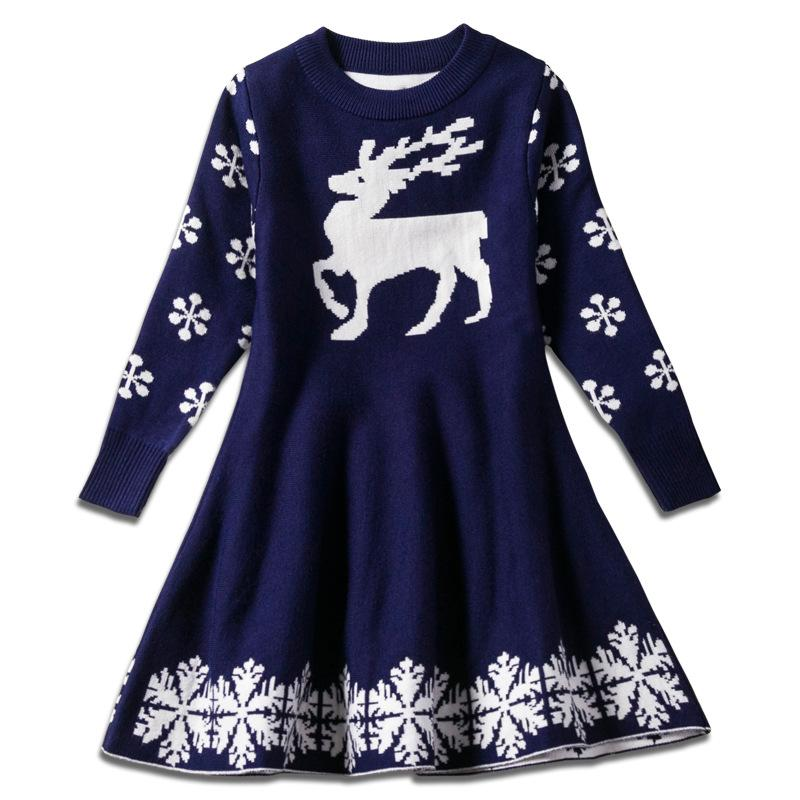 97918ce5af5 2019 Red Color Baby Girls Chritmas Skirts Deer Knitting Children Girl  Holidays Warm Dress Kids Party Skirts Snowflake Sika Deer Pattern Sweater  From ...