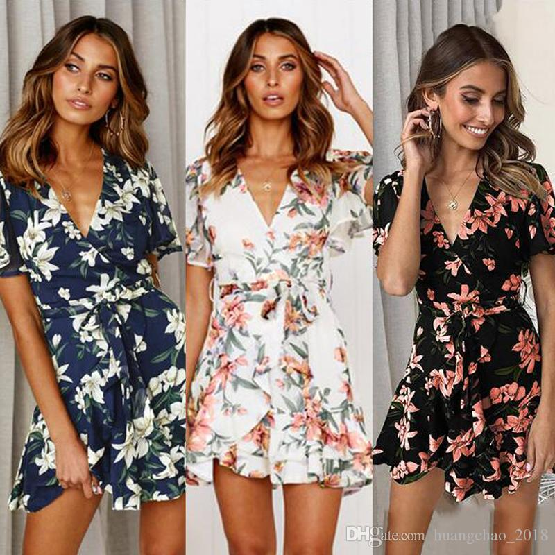 7c58803df39d Summer Dresses 2019 Fashion Loose Short Sleeve Deep V Neck Flora Printed  Chiffon Dress Sexy Mini Party Dress Plus Size Women Clothing Women In Dresses  White ...