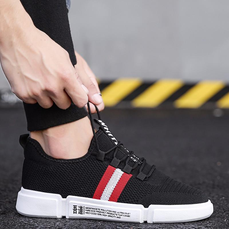 9782ddbccce97 Men Mesh Casual Shoes New 2018 Spring Summer Men S Ribbon Low Top Black Red Shoes  Male Brand Fashion Comfortable Sneakers UNN Navy Shoes Blue Shoes From ...