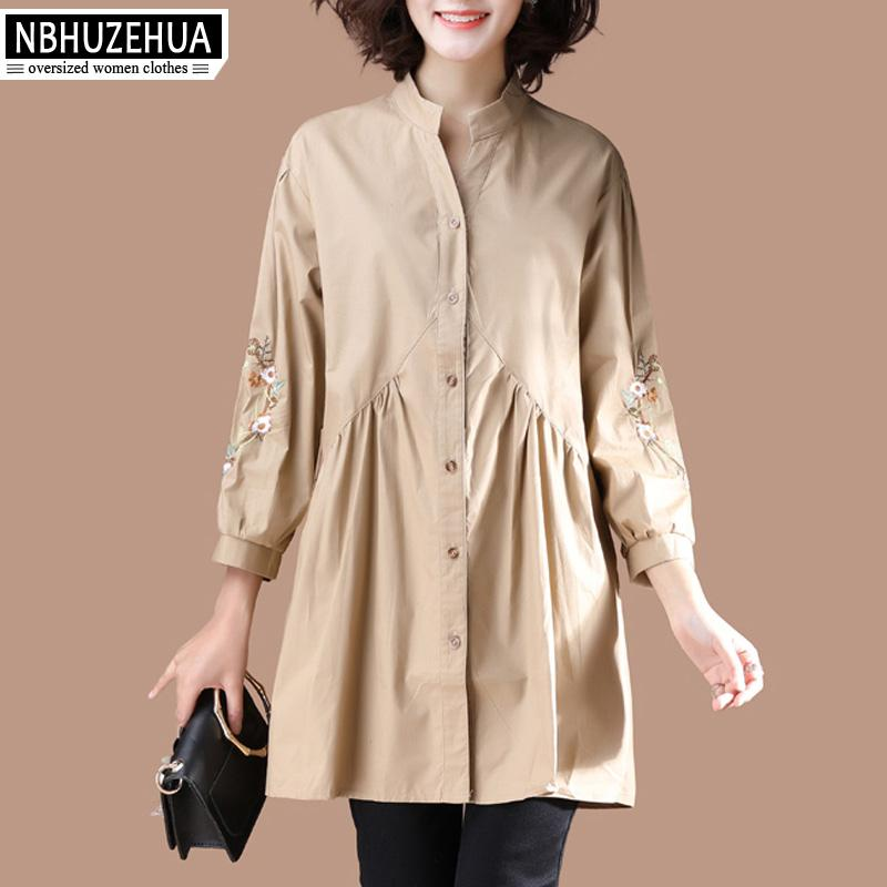155851d12 2019 NBHUZEHUA Womens Shirts Big Sizes Embroidery Ethnic Style Vintage Long Blouse  Loose A Line Elegant Shirt Dress 4XL Tops 19 D303 From Victoriata, ...