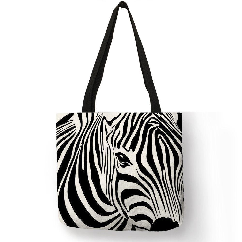 cf55cf48e51f Popular Animal Print Girls Ladies Shoulder Bag Zebra Silhouette Wave Stripe  Dot Handbag Shopping Travel Beach Casual Useful Tote Designer Purses  Satchel ...