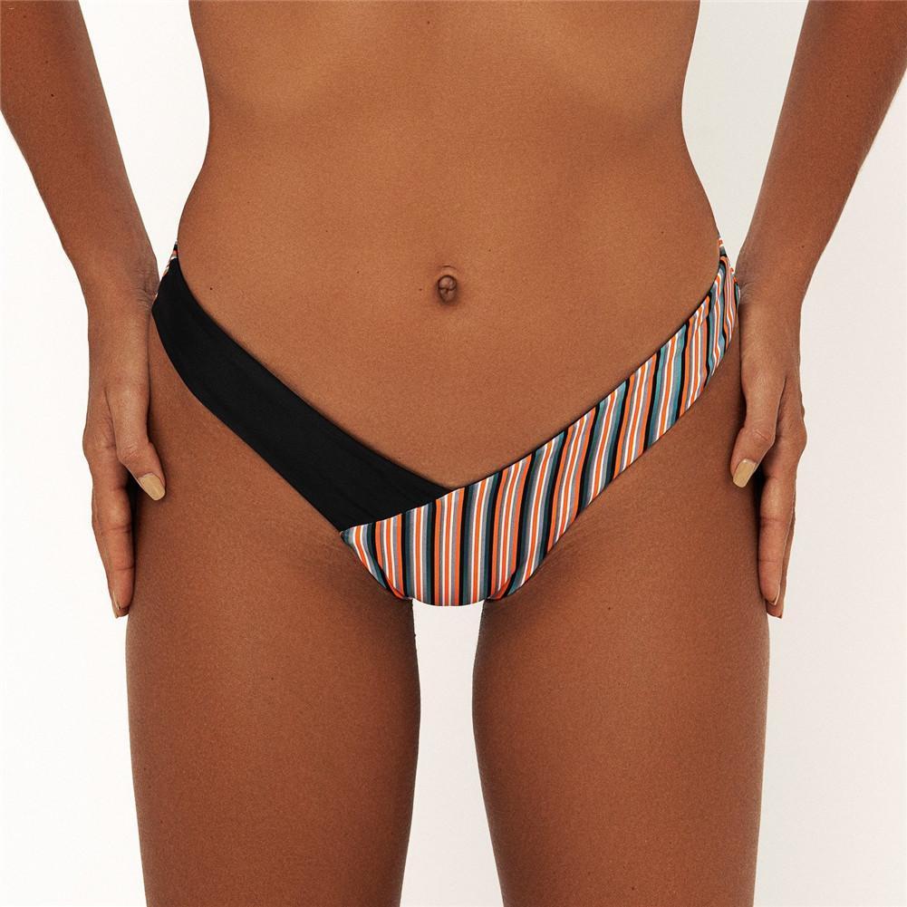 Women's Swimwear Sexy Thong Bikini Stripe Print Sexy Low Waist Woman Bikini Bottoms Swim Shorts Female Beach Wear Swimming Suit