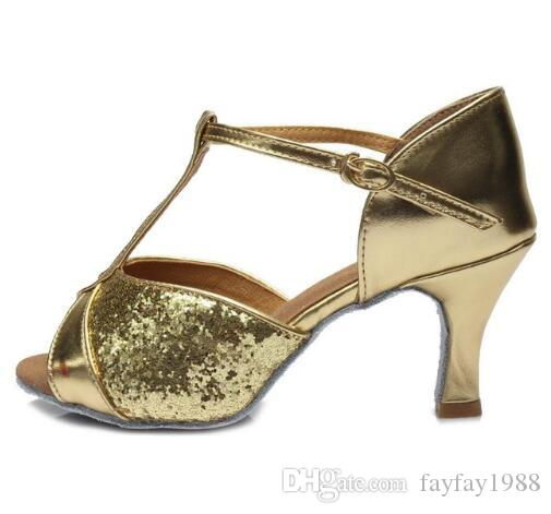 60b8510a7f Hot sale Women s Girls Ballroom Latin Tango Dance Shoes heeled 7cm Sales  Silver Gold Black Brown color wholesale