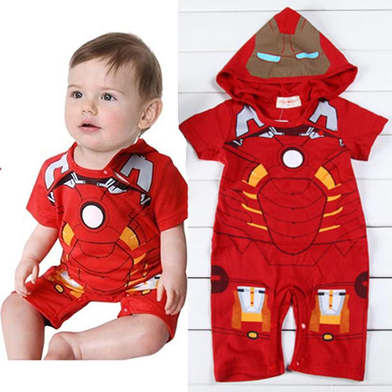 New Cosplay Baby Boy Girls Infant Red Iron Man Hooded Romper Playsuit Outfit Jumpsuit 0-18M Novelty Clothes