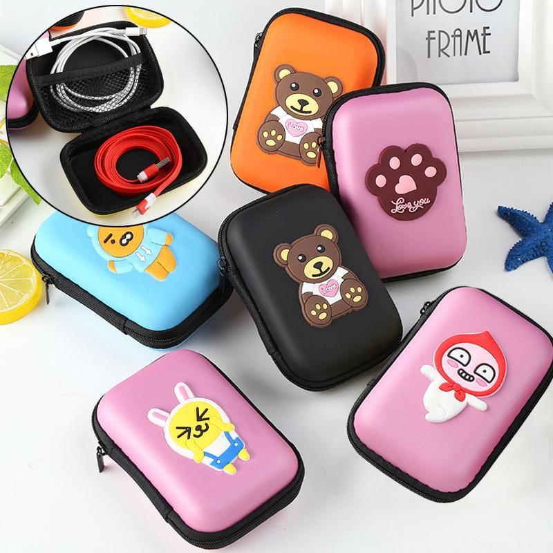 Container For Earphone 1PC Colorful Storage Box Headphone Protective Case Cartoon Coin Holder Headphone Case Travel Storage
